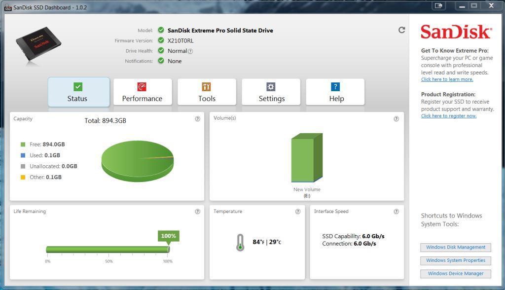 SanDisk SSD DashBoard Opening Screen1