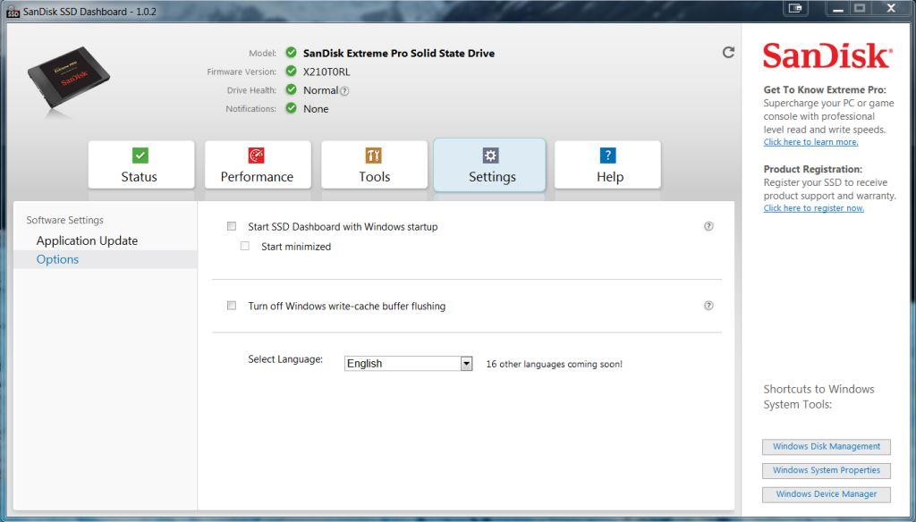 SanDisk SSD DashBoard Settings Screen