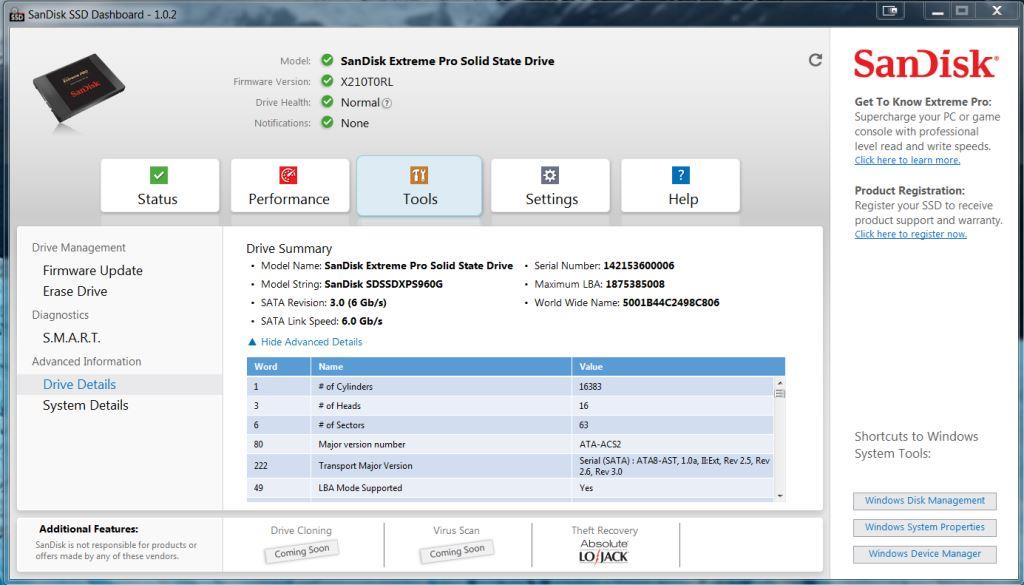 SanDisk SSD DashBoard Tools Screen