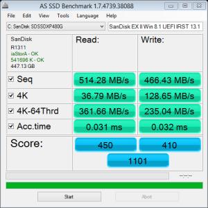 as-ssd SanDisk EX II Z97 Win8.1 MBs 6.23.2014