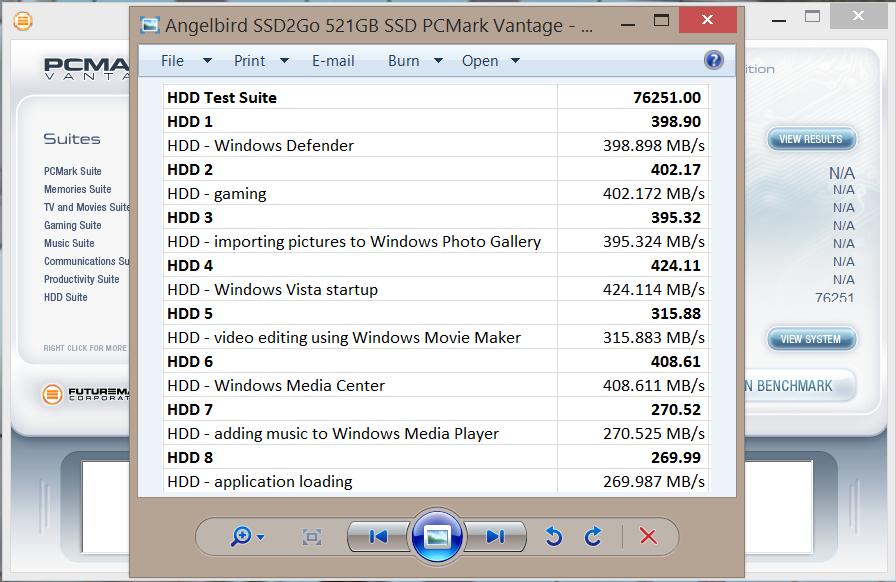 Angelbird SSD2Go 521GB SSD PCMark Vantage