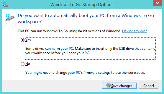 Boot from Windows to Go