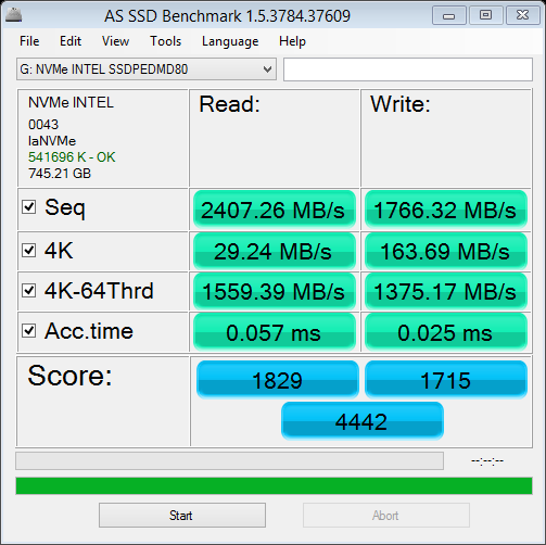 NVMe Fresh Install With Drivers AS SSD
