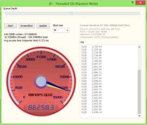 Corsair Neutron XT 240GB SSD Anvil 86K Write