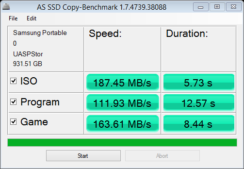 Samsung Portable SSD T1 AS SSD Copy Bench NTFS