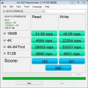 ADATA SP900NS38 256GB AS SSD IOPS