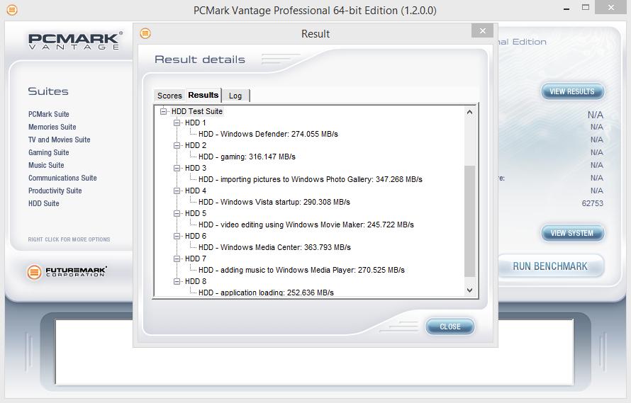ADATA SP900NS38 256GB PCMark Vantage