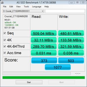 Crucial MX200 1TB AS SSD