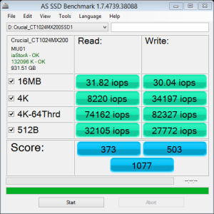 Crucial MX200 1TB AS SSD IOPS