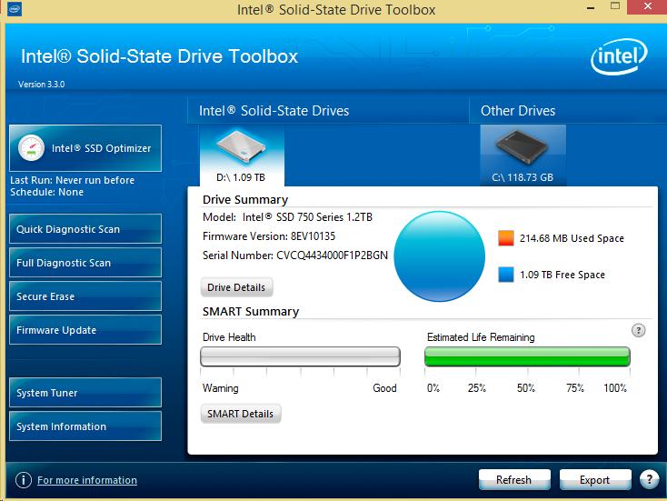 Intel 750 1.2TB NVMe Intel ToolBox