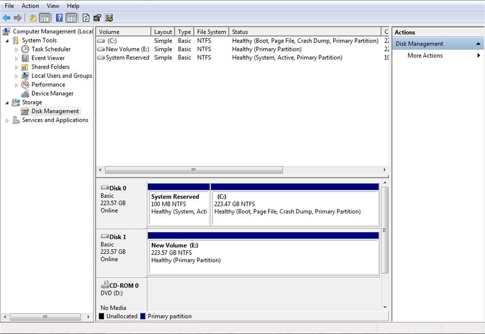 SP S80 disk mgmt screenshot after formatting R1