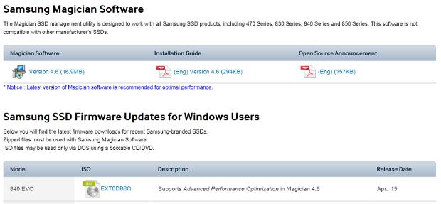 13--Samsung 840EVO firmware update and Magician 4.6 screenshot