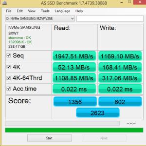 Samsung SM951 M.2 PCIe NVMe 256GB AS SSD