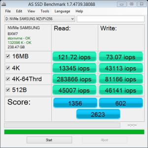 Samsung SM951 M.2 PCIe NVMe 256GB AS SSD IOPS
