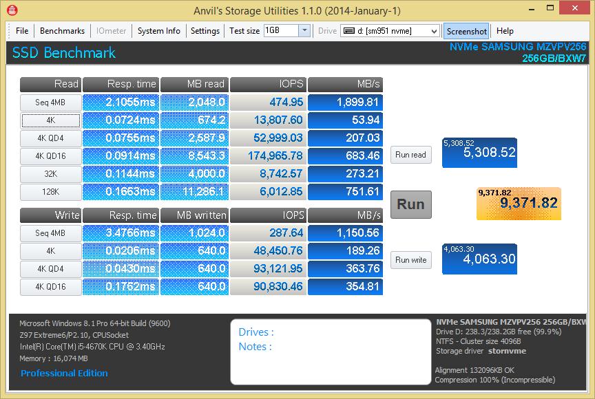 Samsung SM951 M.2 PCIe NVMe 256GB Anvil