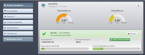 Crucial momentum cache screenshot