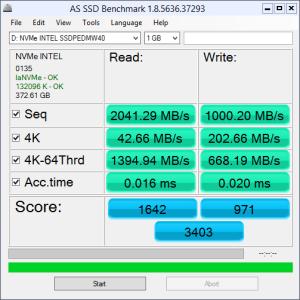 Intel 750 Series 400GB AS SSD