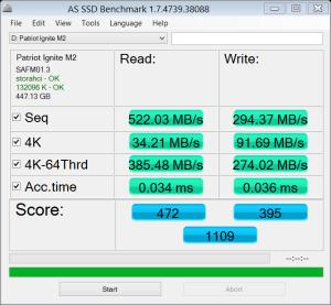 Patriot Ignite M2 480GB SSD AS SSD