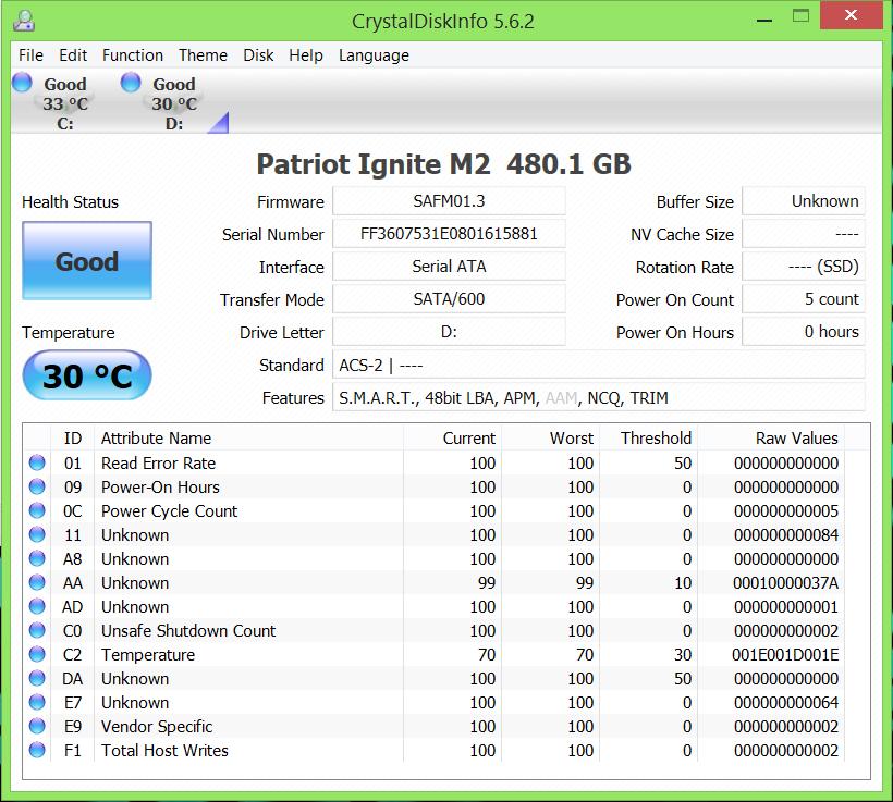 Patriot Ignite M2 480GB SSD CDI 2