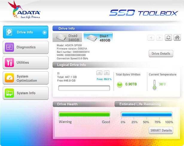 ADATA SP550 toolbox