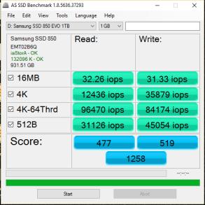 Samsung 850 EVO 3D V-NAND V3 as ssd iops
