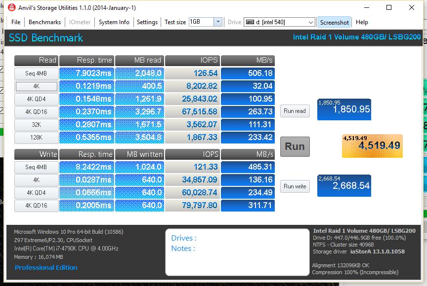 Intel 540s 480GB ANVIL