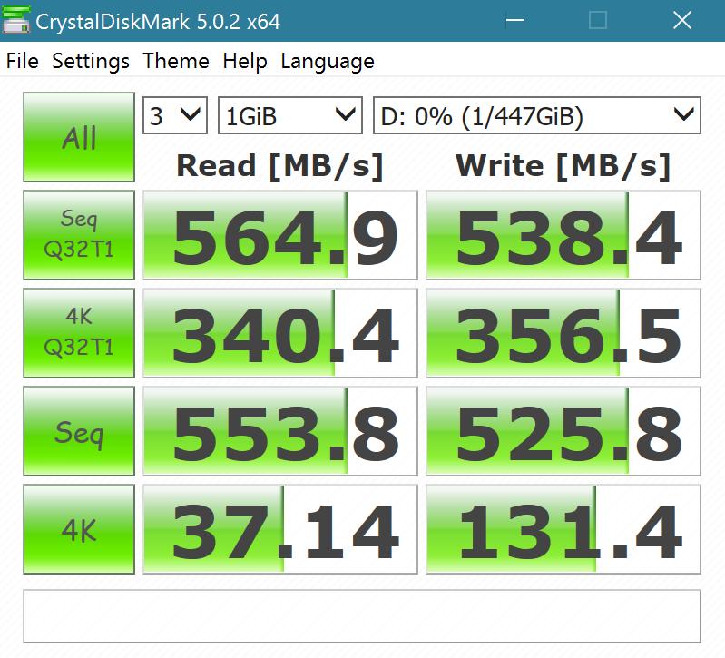 MyDigitalSSD BP5e 480GB M2 SATA 3 SSD Crystal DiskMark