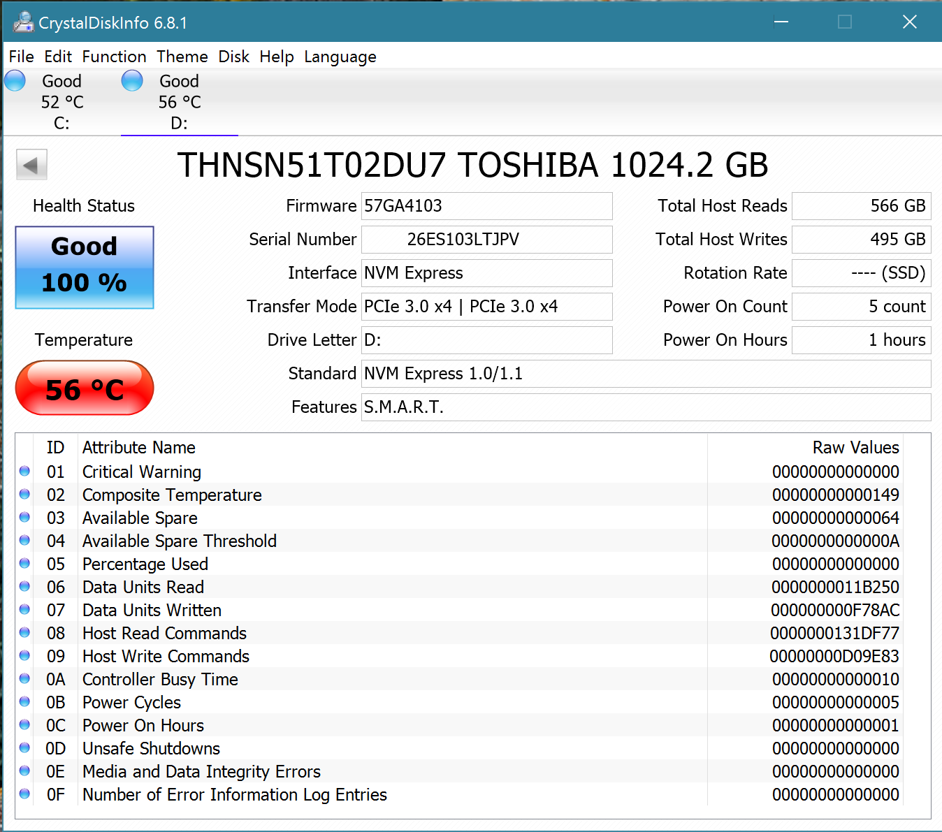 Toshiba XG3 1TB NVMe M.2 SSD Crystal Disk Info