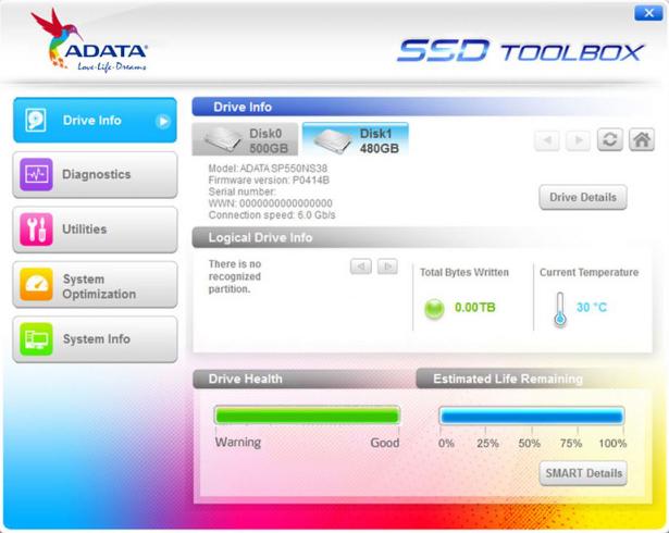 ADATA SP550 Mdot2 SSD Toolbox