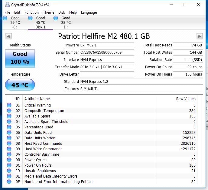 480GB Patriot Hellfire CDI