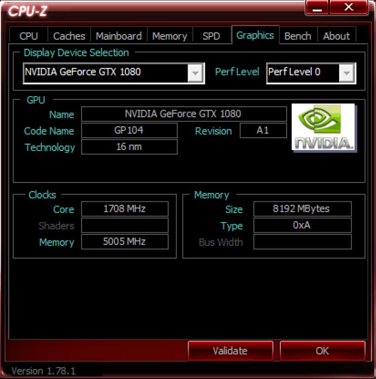 CPUz Graphics PNY GTX 1080 OC Gaming XLR8