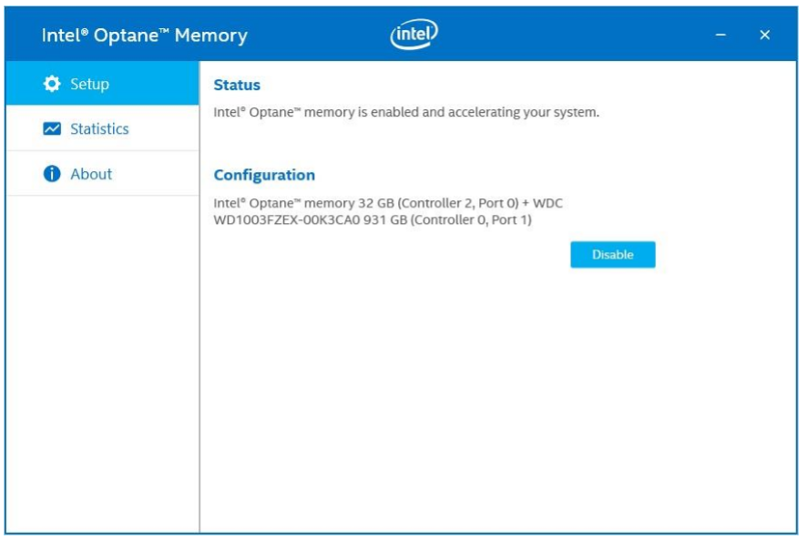 Intel Optane Disable Screen