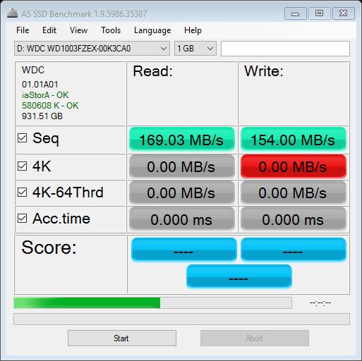 WD Black 1TB HDD AS SSD Bench