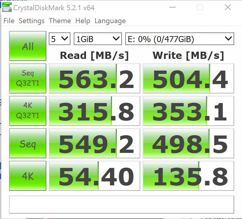 Intel SSD5 545s 512GB SATA III SSD CDM