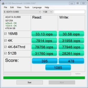 ADATA SU900 AS SSD IOPS