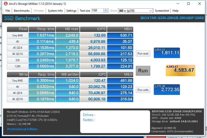 Biostar G330 SSD 256GB ANVIL