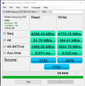 Highpoint SSD7101 960 Pro OS RAID 0 AS SSD
