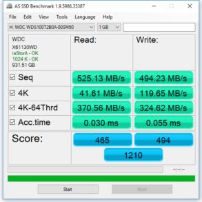 1TB WD Blue 3D SSD AS SSD