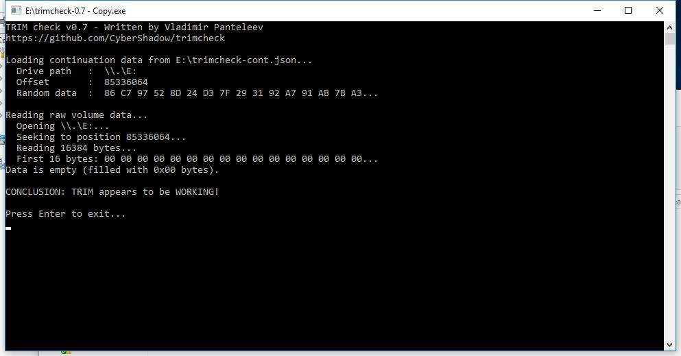 1TB WD Blue 3D SSD TRIMCheck