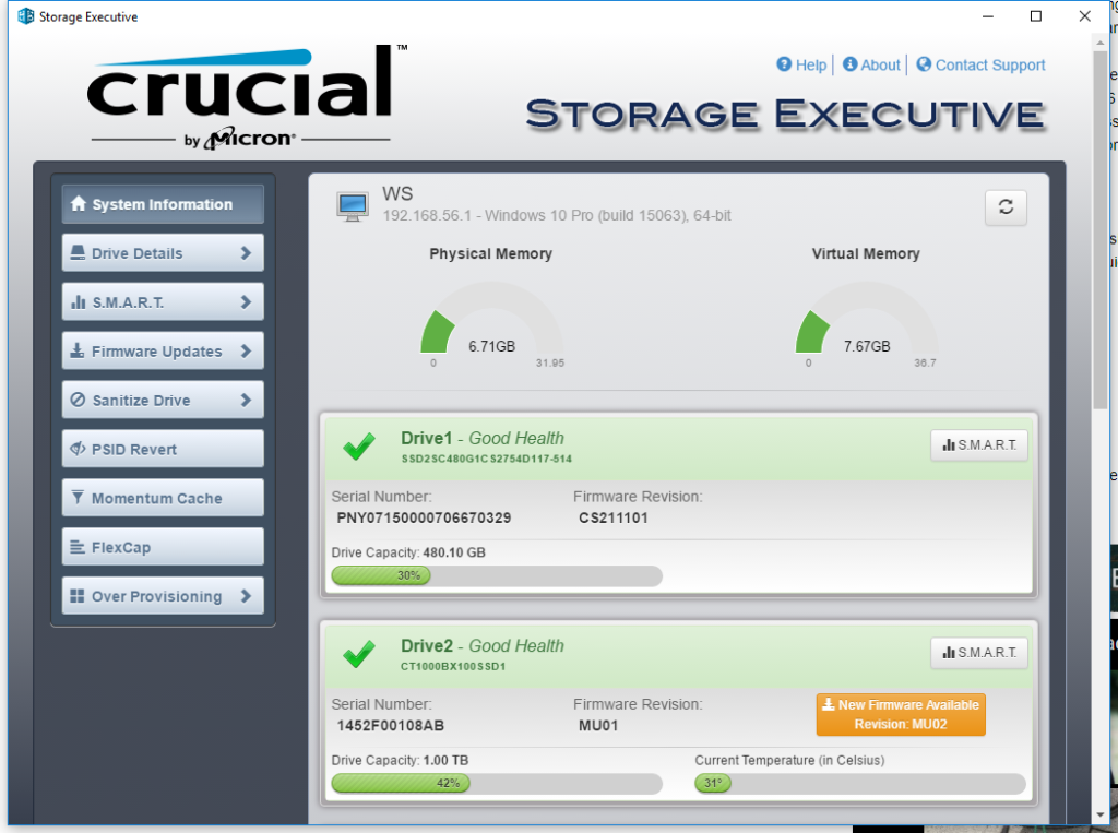 Crucial BX300 Storage Executive