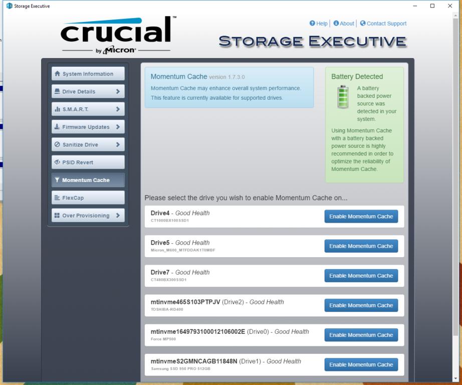 WD Black & Intel 600P Crucial Storage Executive Momentum Cache